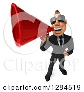Clipart Of A 3d Macho White Businessman Wearing Sunglasses And Announcing Upwards With A Megaphone Royalty Free Illustration