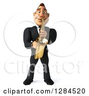 Clipart Of A 3d Macho White Businessman Or Musician Playing A Saxophone Royalty Free Illustration