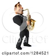 Clipart Of A 3d Macho White Businessman Or Musician Facing Right And Playing A Saxophone Royalty Free Illustration