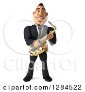 Clipart Of A 3d Macho White Businessman Or Musician Holding A Saxophone Royalty Free Illustration