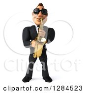 Clipart Of A 3d Macho White Businessman Or Musician Wearing Sunglasses And Playing A Saxophone Royalty Free Illustration