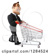 Clipart Of A 3d Macho White Businessman Facing Right And Pushing An Empty Shopping Cart Royalty Free Illustration