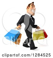 Clipart Of A 3d Macho White Businessman Walking To The Right With Shopping Bags Royalty Free Illustration