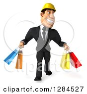 Clipart Of A 3d Macho White Businessman Or Contractor With Shopping Bags Royalty Free Illustration