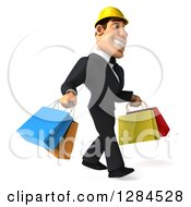 Clipart Of A 3d Macho White Businessman Or Contractor Facing Right And Walking With Shopping Bags Royalty Free Illustration