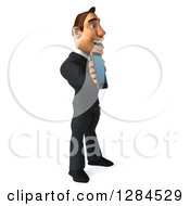 Clipart Of A 3d Macho White Businessman Facing Right And Holding A Smart Phone Royalty Free Illustration