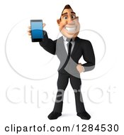 Clipart Of A 3d Macho White Businessman Holding Out A Smart Phone Royalty Free Illustration