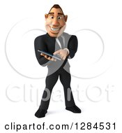 Clipart Of A 3d Macho White Businessman Swiping On A Tablet Computer Or Smart Phone Royalty Free Illustration