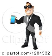 Clipart Of A 3d Macho White Businessman Wearing Sunglasses Facing Slightly Left And Holding Out A Smart Phone Royalty Free Illustration