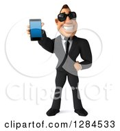 Clipart Of A 3d Macho White Businessman Wearing Sunglasses And Holding Out A Smart Phone Royalty Free Illustration