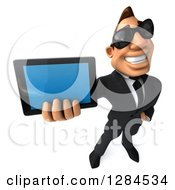 Clipart Of A 3d Macho White Businessman Wearing Sunglasses And Holding Up A Smart Phone Or Tablet Computer Royalty Free Illustration