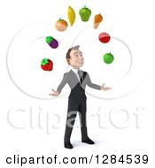 Clipart Of A 3d Young Brunette White Businessman Facing Right And Juggling Produce Royalty Free Illustration