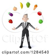 Clipart Of A 3d Young Brunette White Businessman Juggling Produce Royalty Free Illustration