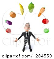 Clipart Of A 3d Happy Young Brunette White Businessman Looking Up And Juggling Produce Royalty Free Illustration