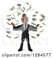 Clipart Of A 3d Wealthy Handsome Black Businessman Making It Rain Money Royalty Free Illustration