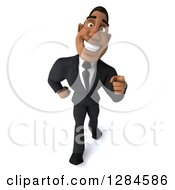 Clipart Of A 3d Handsome Black Businessman Walking And Pointing Forward Royalty Free Illustration