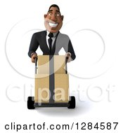 Clipart Of A 3d Handsome Black Businessman Moving Boxes On A Dolly Royalty Free Illustration