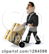 Clipart Of A 3d Handsome Black Businessman Facing Left And Moving Boxes On A Dolly Royalty Free Illustration