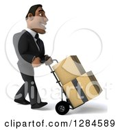 Clipart Of A 3d Handsome Black Businessman Facing Right And Moving Boxes On A Dolly Royalty Free Illustration