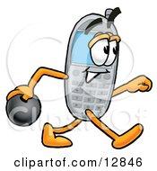 Wireless Cellular Telephone Mascot Cartoon Character Holding A Bowling Ball