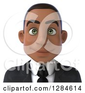 Clipart Of A 3d Young Black Businessman From The Shoulders Up Royalty Free Illustration