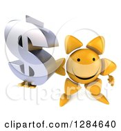 Clipart Of A 3d Happy Sun Character Holding Up A Dollar Currency Symbol Royalty Free Illustration