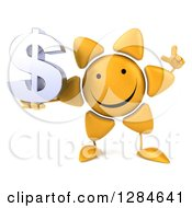 Clipart Of A 3d Happy Sun Character Holding Up A Finger And A Dollar Currency Symbol Royalty Free Illustration