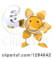 Clipart Of A 3d Happy Sun Character Holding And Pointing To A Euro Currency Symbol Royalty Free Illustration