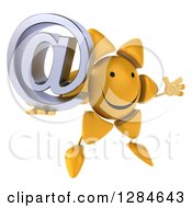 Clipart Of A 3d Happy Sun Character Facing Right Jumping And Holding An Email Arobase At Symbol Royalty Free Illustration