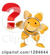 Clipart Of A 3d Happy Sun Character Holding And Pointing To A Question Mark Royalty Free Illustration