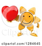 Clipart Of A 3d Happy Sun Character Holding A Heart Royalty Free Illustration