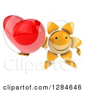 Clipart Of A 3d Happy Sun Character Holding Up A Heart Royalty Free Illustration
