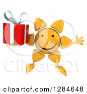 Clipart Of A 3d Happy Sun Character Jumping And Holding A Gift Royalty Free Illustration