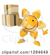 Clipart Of A 3d Happy Sun Character Shrugging And Holding Boxes Royalty Free Illustration