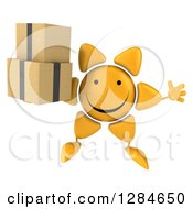 Clipart Of A 3d Happy Sun Character Jumping And Holding Boxes Royalty Free Illustration