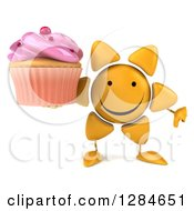 Clipart Of A 3d Happy Sun Character Holding A Thumb Down And A Pink Frosted Cupcake Royalty Free Illustration