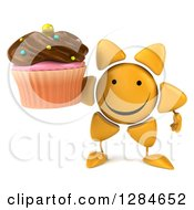 Clipart Of A 3d Happy Sun Character Holding A Chocolate Frosted Cupcake Royalty Free Illustration