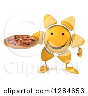 Clipart Of A 3d Happy Sun Character Holding A Pizza Royalty Free Illustration