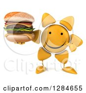 Clipart Of A 3d Happy Sun Character Holding And Pointing To A Double Cheeseburger Royalty Free Illustration