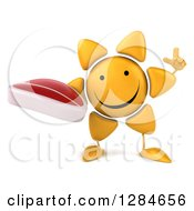 Clipart Of A 3d Happy Sun Character Holding Up A Finger And A Beef Steak Royalty Free Illustration