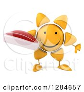 Clipart Of A 3d Happy Sun Character Holding A Beef Steak And Thumb Down Royalty Free Illustration