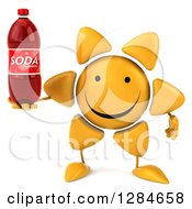 Clipart Of A 3d Happy Sun Character Holding A Soda Bottle Royalty Free Illustration