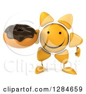 Clipart Of A 3d Happy Sun Character Holding A Chocolate Frosted Donut Royalty Free Illustration