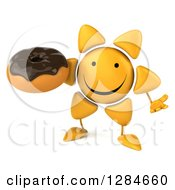 Clipart Of A 3d Happy Sun Character Shrugging And Holding A Chocolate Frosted Donut Royalty Free Illustration
