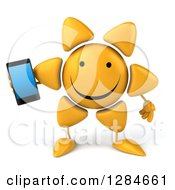 3d Happy Sun Character Holding A Smart Cell Phone