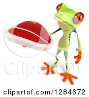 Clipart Of A 3d Argie Frog Holding Up A Beef Steak Royalty Free Illustration