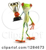 Clipart Of A 3d Argie Frog Walking And Holding A Trophy Royalty Free Illustration