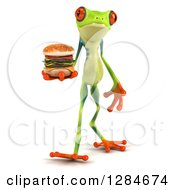 Clipart Of A 3d Argie Frog Walking And Holding A Double Cheeseburger Royalty Free Illustration