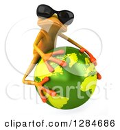 3d Yellow Frog Wearing Sunglasses Facing Slightly Right And Hugging Planet Earth