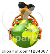 Clipart Of A 3d Yellow Frog Wearing Sunglasses And Hugging Planet Earth Royalty Free Illustration